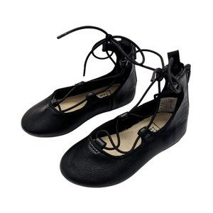 Gap Little Girls Black Leather Ballet Flats US 5